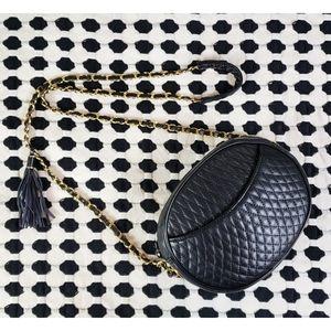 Valerie Stevens Leather Quilted Chain Shoulder Bag